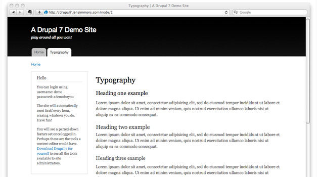 Drupal Bartik Black Theme